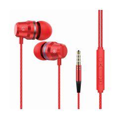 אוזניות סיליקון IN-EAR מתכתי אדום